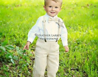 Linen Ring Bearer Outfit, 3 Piece Set, Ring Bearer Bow tie, Suspenders, and Pants. Wedding Outfit for Ringbearer