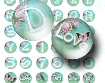 INSTANT Download floral alphabet and numbers digital collage sheet 1 inch circles for bottle caps, magnets, and more BUY 3 get 1 FREE