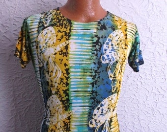 60's Vintage Men's Silky Hippie Jersey Shirt Arrow med