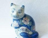 Vintage Cat Figurine, Vintage Blue and White Porcelain Cat