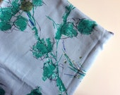 Vintage Blue and Green FLORAL Cotton Tablecloth