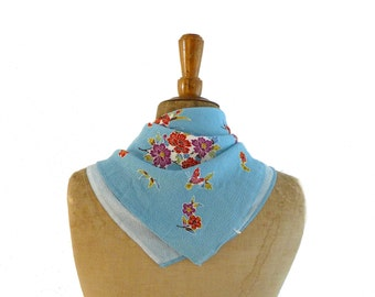 Vintage Japanese Chirimen furoshiki blue floral and butterflies rayon fabric square or scarf