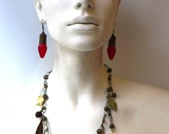 Vintage original 1960s red lightbulb dangle earrings