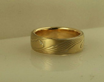 18k yellow gold with sterling silver wood grain pattern etched mokume gane wedding band