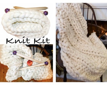 Knit Kit, SUPER Chunky Blanket, Yarn, Giant Needles, Choice of Projects