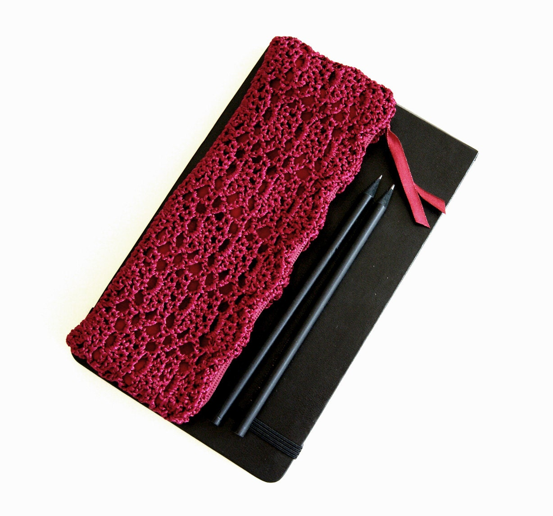 Magenta Purple Pencil Case Crochet Pencil Case by KeraSoftwear