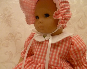 15 Inch Baby Doll Pink Gingham Spring/Summer  Dress, Sunbonnet and Bloomers