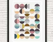 Abstract art, Modern wall decor, Scandinavian print, Geometric art, Colorful wall print,  abstract teal and gray,  mid century print,