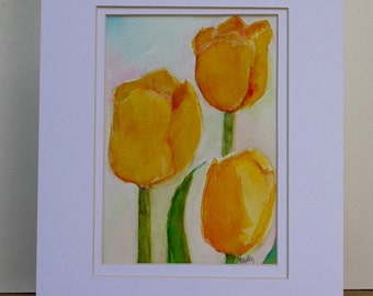 Tulip Painting - Original Watercolor - garden flowers - yellow tulips - floral still life - wall art - fine art home decor