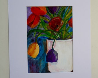 Original painting - tulips in a vase - flowers floral still life - fine art home decor - wall art - small painting