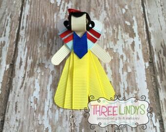 Snow White Hair Clip, Ribbon Sculpture, Princess Hair Bow, Princess Hair Clip