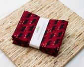 Large Cloth Napkins - Set of 4 - (N2757) - Dark Red Moose Modern Reusable Fabric Napkins