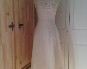1970s Cotton Halter Dress - S