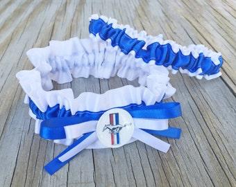 Mustang Bridal Satin Wedding Garter White & Royal Blue Keepsake Or Garter SET Truck Car Garter