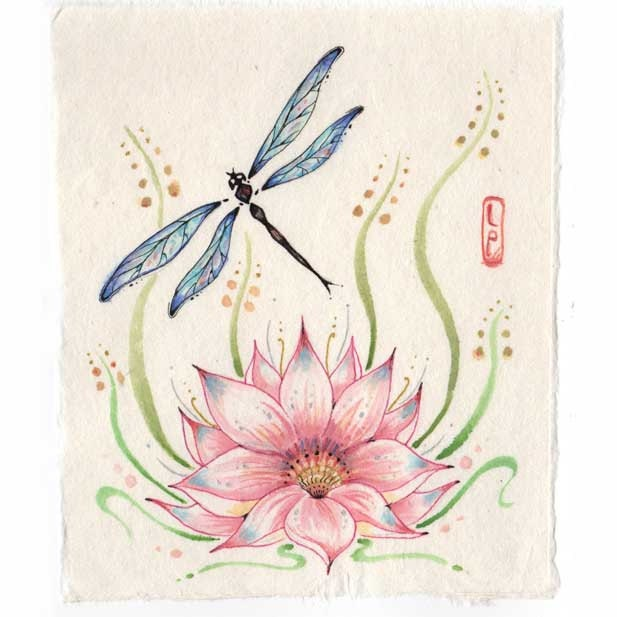 Lotus Flower Tattoo With Dragonfly: Original Dragonfly Painting With Lotus Flower Chinese