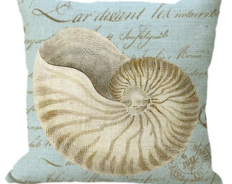 Nautilus Shell on French Document on Blue in Burlap or Canvas in Choice of 14x14 16x16 18x18 20x20 22x22 24x24 26x26 inch Pillow Cover
