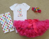 Ready To Ship, Hot Pink Polka Dot, Baby Girl 1st Birthday Outfit, Bodysuit Pettiskirt Leg Warmers Headband, Girls First Birthday Outfits