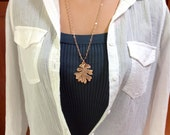 Oak leaf necklace, real oak leaf, nature jewelry rose gold jewelry, minimalist jewelry, gift for mom, long necklace