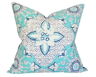 New Batik Turquoise and Navy on Tint - Quadrille China Seas - Designer Pillow Cover (Single-Sided) 17x17
