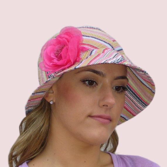 Day at the Beach Wide Brim Bonnet, Floppy Sun Hat, in Yellow, Pink & Blue Pastel Stripe Cotton Seersucker with Pink Rose Pin, Folds Flat