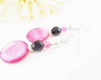 Pink Jade Earrings, Mother of Pearl, Pink Shell Earrings, Bright Pink and Black Beaded Earrings, Czech Glass Earrings, Fuchsia Earrings