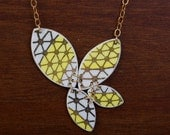 Yellow Geo Prism Necklace - Recycled China - Material and Movement
