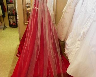 "Wedding veil long, cathedral 108"" long veil, White, Ivory, Diamond white"