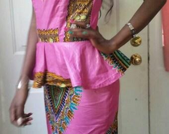 Dashiki Pencil Skirt and off shoulder Blouse