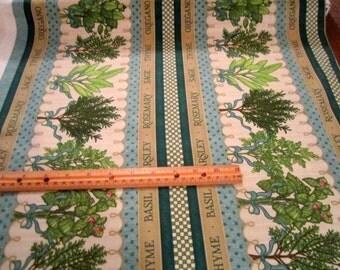 Herb Garden Herb Stripe premium cotton fabric  by Quilting Treasures - kitchen, quilting-1.5 yd piece -  LAST PIECE