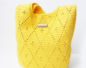 Crochet handbag Bag  Purses Handbags Shoulder Bag Yellow Colour SpringSummer Crochet Handbag Handmade
