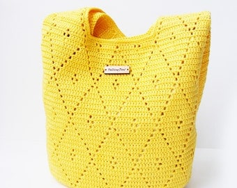 Crochet handbag Bag & Purses Handbags Shoulder Bag Yellow Colour Spring/Summer Crochet Handbag Handmade