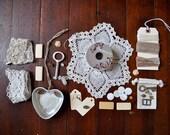 Create Vintage Mixed Media Art Kit - Junk Drawer - Destash - Lot - Jewelry - Lace - Buttons - Ephemera - No. 3