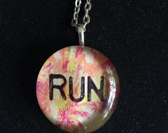 Run art glass pendant necklace - running jewelry 5k half marathon ultra triathlon gift