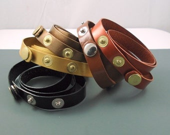Wrap Leather Strap Bracelet, One Half Inch Wide in a Variety of Colors