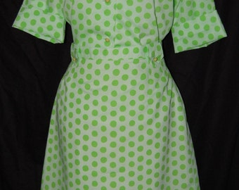 vintage 60s dress, polka dot, 2 piece dress, st patricks day, vintage suit, 60s 70s dress, mix and match, top and skirt, shirtwaist style