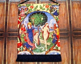 Tree of Death and Life Tapestry, Medieval Dollhouse Miniature 1/12 Scale, Hand Made