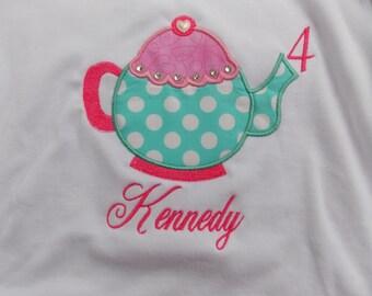 LiL Teapot  Applique T Shirt for Children by Bubblebabys Birthday shirt