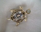 Vintage Turtle Brooch, Lapel Pin, Features Large Faceted Stone, Calling All Turtle Lovers