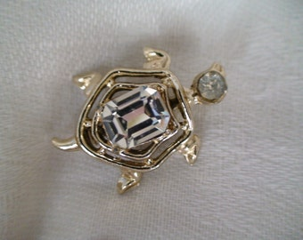 1950s Turtle Brooch, Lapel Pin, Features Large Faceted Stone, Calling All Turtle Lovers