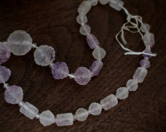Antique Lucite Bead Necklace Finding, Striking Uniquely Etched Beads, Calling Bead Artisans