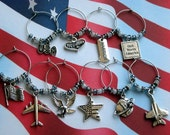 Air Force Wine Charms USAF Tibetan Silver Warrior Globe World Freedom God Bless America Fighter Cargo Airplane Flag Eagle Patriotic