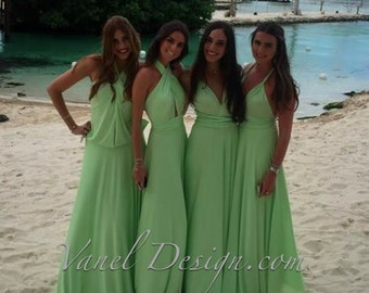 LIGHT GREEN Bridesmaid Dress  Infinity Bridesmaids Dress Green color-Convertible Bridesmaids Dress,One Dress Endless Styles 50 COLORS
