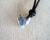 SALE 25OFF code 25%off all items Rustic Artisan Heart Handmade PMC Sterling Silver Necklace Leather Strand