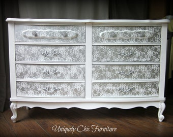 Reserved~French Provincial White and Silver Dresser