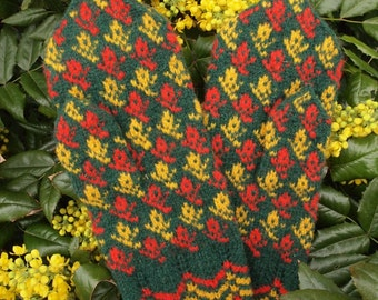 Finely Hand Knitted Estonian Mittens in Yellow and Redblue on Dark Green - warm and windproof