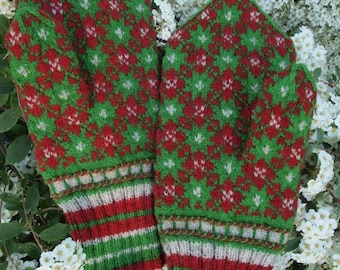 Hand Knitted Seto (Estonian) Mittens - Fine and Protective