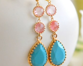 Long Jewel Earrings in Turquoise and Grapefruit Pink. Dangle Earrings.  Bridal Jewelry. Modern Fashion Earrings. Wedding. Gift.