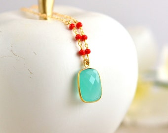 Long Aqua Chalcedony Necklace with Red Coral Beads in Gold. Statement Necklace. Long Gold Red Aqua Necklace. Gold Necklace.  Vintage Style.