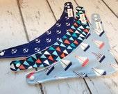 Drool Bibs - Bandana Style Bib - Nautical Collection - Set of 3