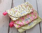 Burp Cloth-Set of 3- Baby Girl - Pink and Green